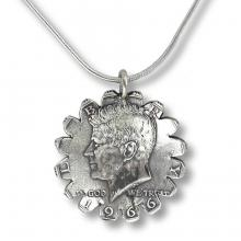 1966 Kennedy Half-Dollar Sunflower Pendant